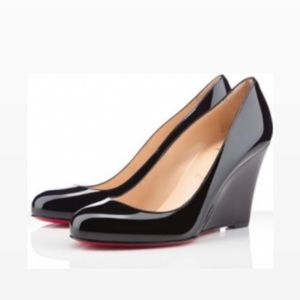 Christian Louboutin patent wedge heels pumps shoes